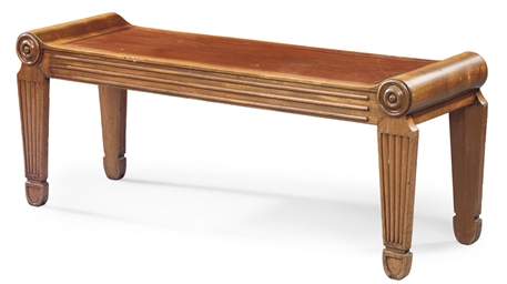 A REGENCY MAHOGANY HALL BENCH