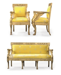A SUITE OF EMPIRE GILTWOOD SEA