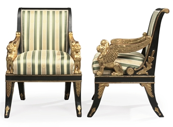 A PAIR OF EMPIRE PARCEL-GILT A