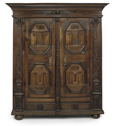 A GERMAN IRON-MOUNTED WALNUT,