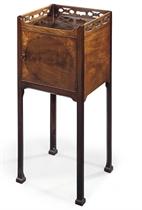 A GEORGE III MAHOGANY BEDSIDE TABLE