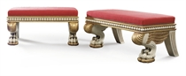 A PAIR OF WHITE-PAINTED AND PARCEL-GILT STOOLS