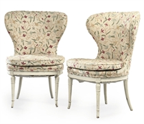 A PAIR OF WHITE-PAINTED WING SIDE CHAIRS