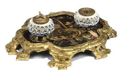 A LOUIS XV ORMOLU AND PORCELAI