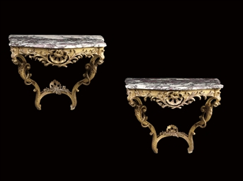 A PAIR OF FRENCH GILTWOOD CONS