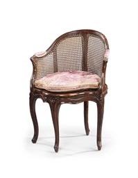 A LOUIS XV CANED WALNUT FAUTEU