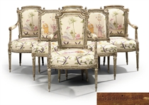 A SUITE OF LOUIS XVI GILTWOOD AND GREY-PAINTED SEAT-FURNITURE