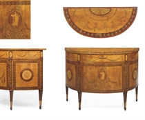 A GEORGE III SATINWOOD, AMARANTH AND MARQUETRY DEMI-LUNE COMMODE