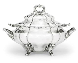 A VICTORIAN SILVER SOUP-TUREEN