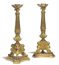 A PAIR OF REGENCY ORMOLU CANDL
