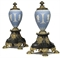 A PAIR OF WILLIAM IV ORMOLU AND BRONZE-MOUNTED JASPER WARE URNS