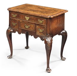 A GEORGE I WALNUT, MAHOGANY AN