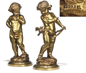 A PAIR OF VENETIAN BRONZE FIGU