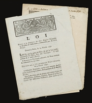 [LA PÉROUSE, Jean-François de Galaup, comte de (1741-1788?)] --ASSEMBLÉE NATIONALE. Loi relative à la découverte des deux Frégates Françoises la Boussole et l'Astrolabe, commandées par M. de la Pérouse. Évreux: Imprimerie du Département, 1791. 4 pages. --Loi relative à M. de la Peyrouse, & à l'impression des Cartes par lui envoyées. Paris: Imprimerie royale, 1791. 2 pages.