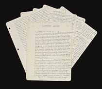 BRETON, André (1896-1896). Lumière noire. Manuscrit autographe signé. S. d. [vers 1943].