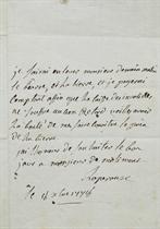 LA PÉROUSE, Jean-François de Galaup, comte de (1741-1788?). Lettre autographe signée à monsieur de Molimont. 8 octobre 1776.