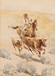 Cowboy Rounding up a Longhorn