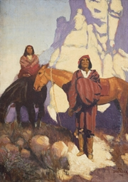 Indians on a Mountain Trail