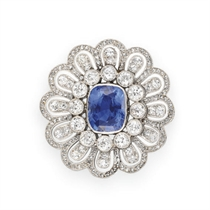 A BELLE EPOQUE SAPPHIRE AND DIAMOND BROOCH