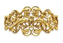 AN ANTIQUE RENAISSANCE-REVIVAL GOLD BELT BUCKLE