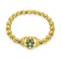 AN ANTIQUE EMERALD, DIAMOND AND GOLD BRACELET