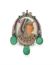 AN EGYPTIAN-REVIVAL MULTI-GEM 'PHARAOH' BROOCH, BY GUSTAVE B
