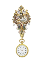 AN ANTIQUE MULTI-GEM AND ENAMEL PENDANT WATCH WITH CHATELAIN