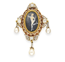 AN ANTIQUE ENAMEL, DIAMOND AND PEARL CAMEO BROOCH, BY FROMEN