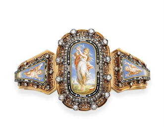 AN ANTIQUE ENAMEL, DIAMOND AND