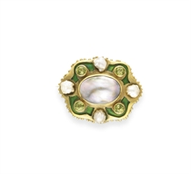 AN ART NOUVEAU MABE PEARL, PERIDOT AND ENAMEL BROOCH, BY MAR