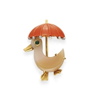 **A CORAL AND AGATE DUCK BROOCH, BY CARTIER