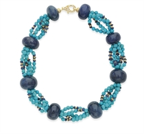 A TURQUOISE AND SAPPHIRE BEAD NECKLACE