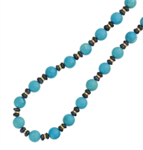 A TURQUOISE, SAPPHIRE AND DIAMOND NECKLACE