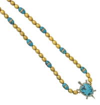 AN ANTIQUE TURQUOISE, DIAMOND AND GOLD PENDANT NECKLACE