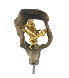 AN ART NOUVEAU HORN AND GOLD