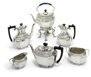 AN EDWARDIAN SILVER SIX-PIECE