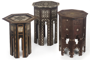 AN OTTOMAN HARDWOOD AND INLAID