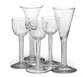 SEVEN OPAQUE-TWIST WINE GLASSE