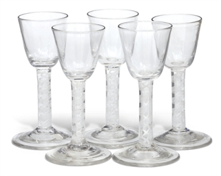 Five opaque-twist wine glasses