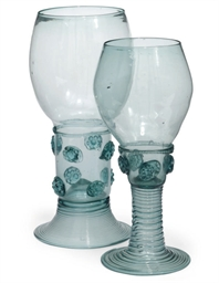TWO GERMAN GREEN GLASS ROEMERS