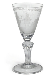 A DUTCH ENGRAVED WINE GLASS
