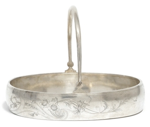 A RUSSIAN SILVER OVAL SWING-HA