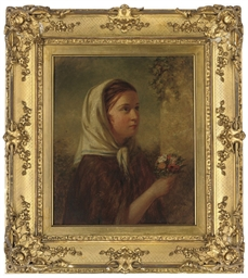 Young girl holding posies