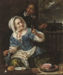 A gentleman courting a maid in