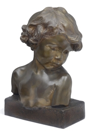 A FRENCH BRONZE BUST OF A CHIL