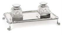 AN EDWARDIAN SILVER 2-BOTTLE INKSTAND