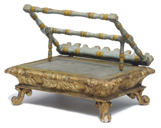 AN ITALIAN GILT AND BLUE-PAINT