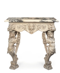 A CARVED CONSOLE TABLE