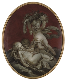 Putti sleeping: en grisaille;
