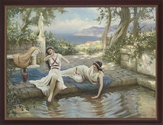 Classical maidens playing by t
